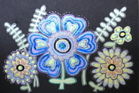 Blue Flower Garden ACEO Mod Daisies ATC Garden Bouquet Artist Trading Card Ferns and Flowers Blue and Black Art Card Original Daisy Drawing