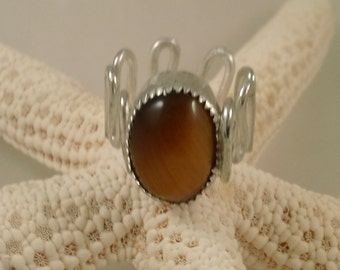 Tiger's Eye Ring in Sterling Silver Size 7 Slightly Adjustable Ready to Ship SRAJD