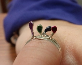 Tiny Nipple Pinky Ring in Assorted Colors SRAJD