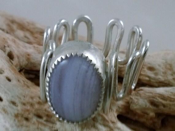 Blue Lace Agate Ring in Sterling Silver adjustable OOAK SRAJD
