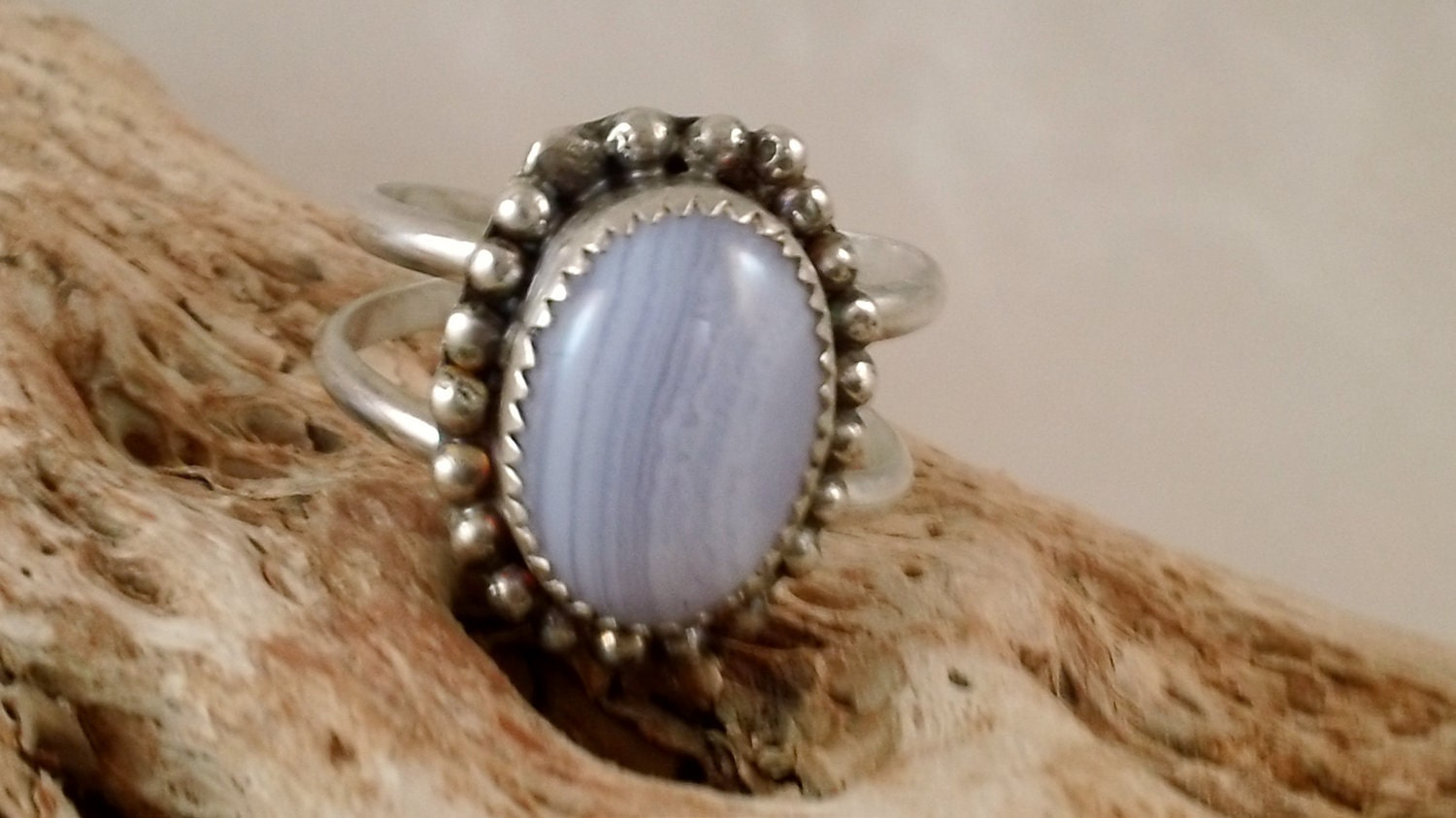 Blue Lace Agate Ring With Granulation Sterling Silver Amp Fine