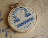 Libra (Sep 23-Oct 22) Zodiac Sign in Blues - READY TO SHIP - Hand Beaded Stitch Art on 3-inch Embroidery Hoop
