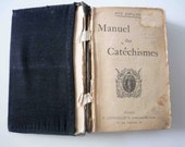 1904 French Religious Manuel des Catechisms(aux Enfants), Handbook of Catechisms, Encased in Black Silk, Personal History Insertions.