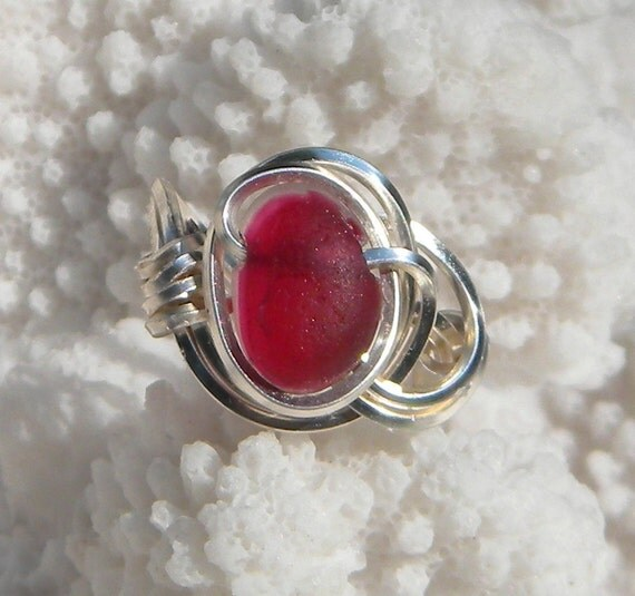 Wire Wrapped Sea Glass Ring-Frosty Red and White English Multi 9