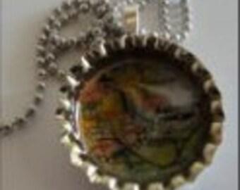 Bottle Cap Pendant Necklace (211)