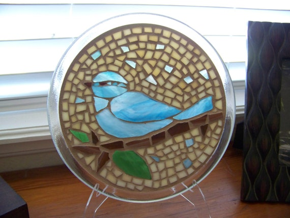 Blue Bird Stained Glass Mosaic Suncatcher or Candle Holder