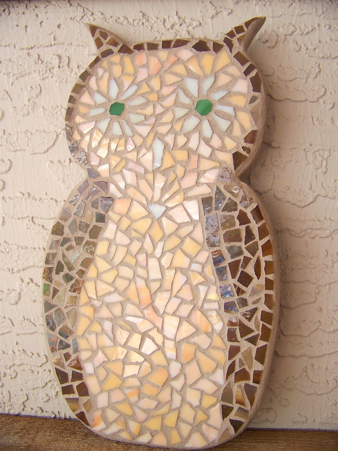 stained glass mosaic owl wall art wall hanging by bluewaveglass. Black Bedroom Furniture Sets. Home Design Ideas