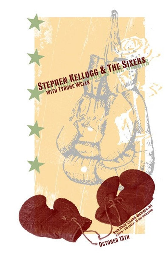Stephen Kellogg & The Sixers gig poster- screen printed, limited edition