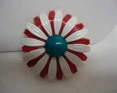 Vintage Brooch Flower Daisy Enamel Red White Blue Brooch Metal Enamel Jewelry