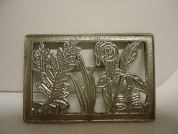 Vintage Brooch Silvertone Framed Flower Print Cut Brooch Jewelry