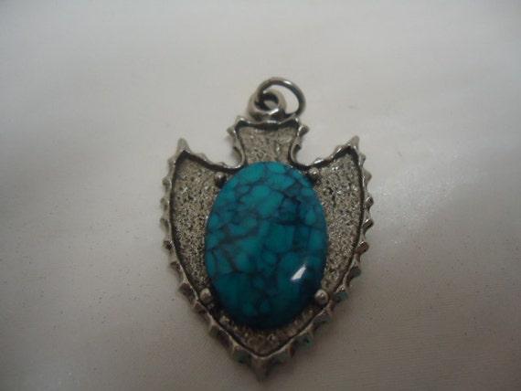 Vintage Pendant Arrow Turquoise Silvertone Pendant Jewelry