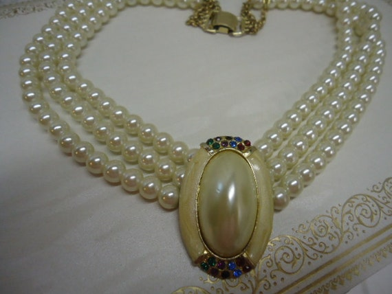 RESERVED FOR CONSTANCE Vintage Necklace Faux Pearl Rhinestone Necklace Jewelry