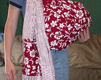 Baby Ring Sling Carrier Red and White Hawaiian Print