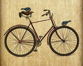 Birds on an Antique Red Bicycle Vintage Hand Tinted and Colored Digital Image Transfer Download jpeg or png 300 dpi Pillows Totes Napkins