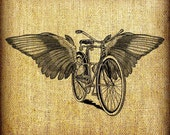Flying Bicycle With Wings Large Vintage Digital Image Transfer Download  jpeg or png 300 dpi for Pillows Totes Bags Napkins Towels