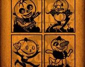 4  Four Vintage Retro Halloween Pumpkin Jack O Lantern Head Characters Vintage Digital Image Transfer Download Pillows Bags Napkins Towels