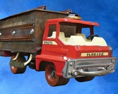 Upcycled Red Structo Truck on Roller Skate with Keepsake Box of Found Recycled Junk Objects