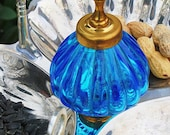 Repurposed Upcycled Recycled Bird Feeder of Found Objects Blue Glass Silverplate Key Triple Serving Platter