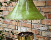 Upcycled Recycled Bird Feeder of Found Objects Green Roof Swinging Cup Feeder with Ringing Bell Counterweight