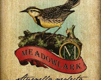 Meadowlark Scroll Monogram Hand Colored and Tinted Digital Image Transfer Download jpeg or png 300 dpi for Pillows Totes Bags Napkins Towels