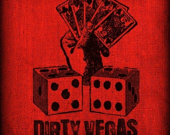 Dirty Las Vegas Playing Hand Cards Dice Gambling Vintage Artwork Digital Image Transfer Download for Pillows Totes Bags Napkins Towels