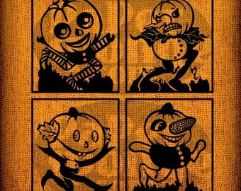 4  Four Vintage Retro Halloween Pumpkin Jack O Lantern Head Characters Vintage Digital Image Transfer Download Pillows Bags Napkins Towels