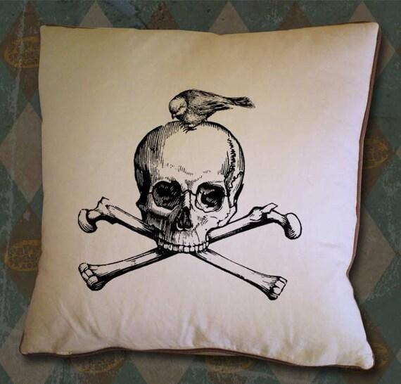 Bird on a Jolly Roger Skull and Bones Vintage Digital Image Transfer Download jpeg or png 300 dpi for Pillows Totes Bags Napkins Towels