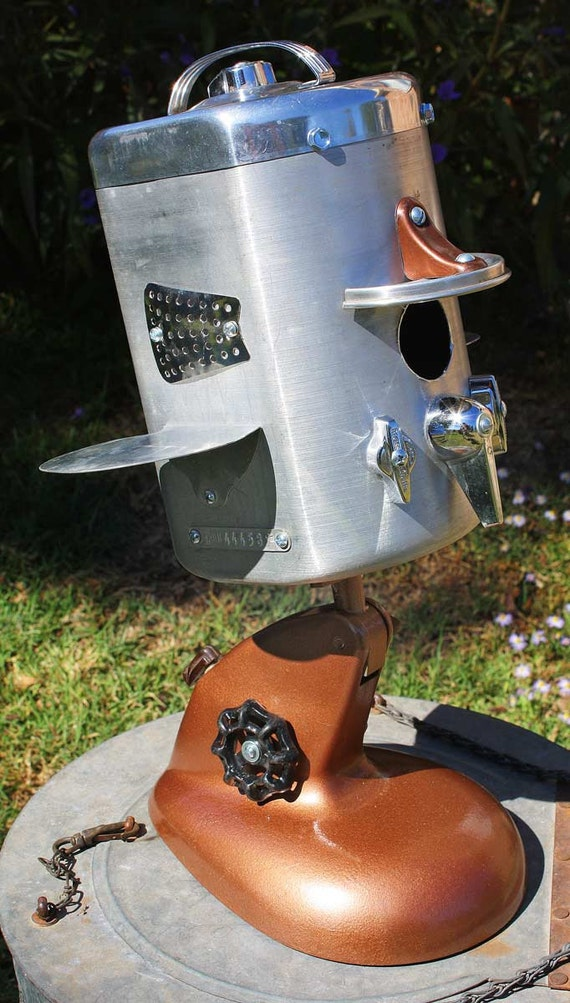 Birdhouse Bird house Repurposed Upcycled Modern Airplane Sugar Canister of Found Objects Metal Recycled Objects OOAK