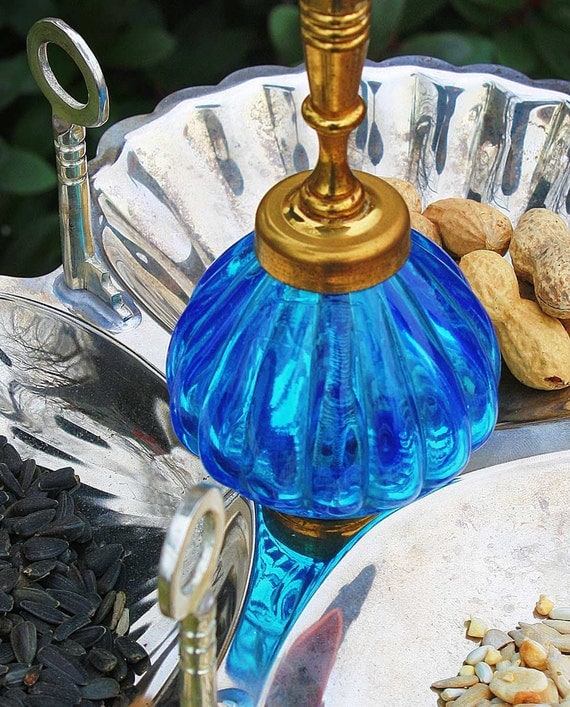 Repurposed upcycled recycled bird feeder of found objects blue for Upcycled bird feeder