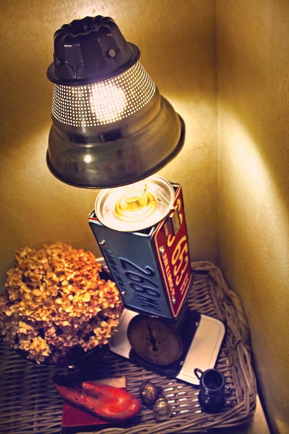 No. 5 Repurposed  Upcycled Lamp with License Plates Kitchen Postal Scale and Strainer Light Fixture of Found Objects