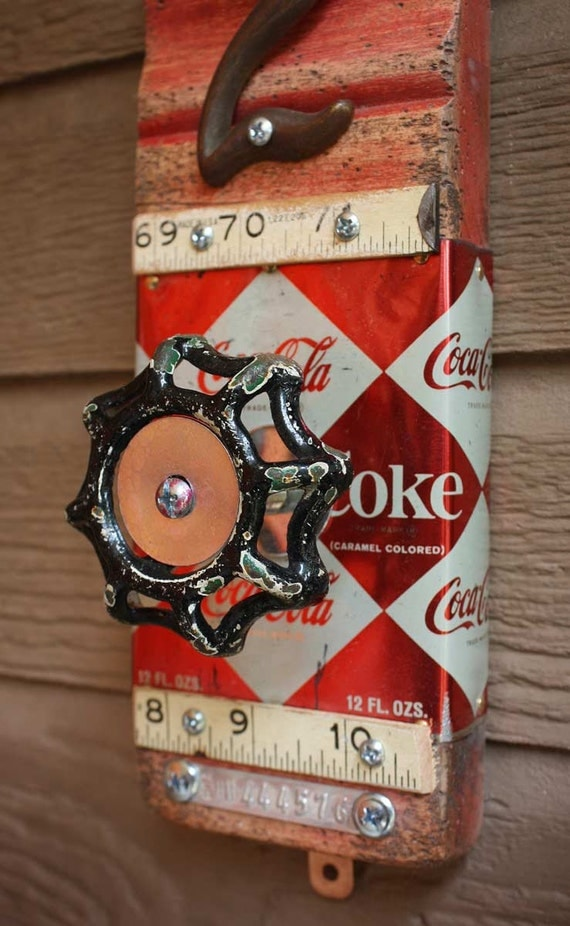 Coat Rack Garden Faucet Handle Coca-Cola Can, Ruler, Number 2 Wall Hanger Repurposed Upcycled Recycled Baseboard Distressed No. 11