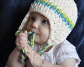 Textured Candy Stripe Ear Flap Crochet Hat Pattern (418)