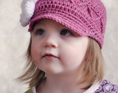 Pop-Out Zig Zag Brimmed Newsboy with Rose Crochet Hat Pattern (401)