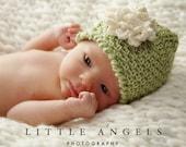 Lime Sherbet Herringbone Look Beanie Crochet Hat Pattern with Flower (456)