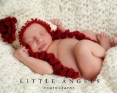 Classic Ruby Red Rose Ear Flap Hat Crochet Pattern with Flower and Curly Tails (471)