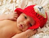 Little Fireman Hat Crochet Pattern (398)