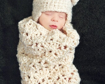 Cream Swirls Cocoon Crochet Pattern - Photography Prop (506)