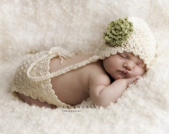 Soft Shells Crochet Hat and Diaper Cover Pattern includes Flower Photography Prop (507)