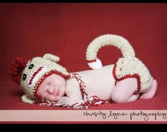 Vintage Look Sock Monkey Crochet Hat and Diaper Cover Pattern (543)