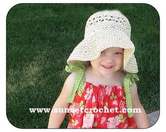 Daisy Stitch Summer Straw Hat Crochet Pattern (315)