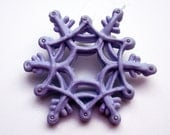 Edible Sugar Snowflake Custom Ornament Hand Piped Hand Made Pastel Purple Lavender Christmas Fun Winter Weddings Unique Gifts Holiday Decor