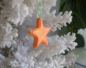 Star Ornament Orange UNIQUE Sugar Hand Piped Hand Made Home Decor Weddings Birthdays Cake Topper Gift Basket Filler Home Decor Summer Peach
