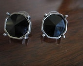 1980s Black and Silver Earrings - reserved for nancypenney