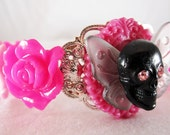 Goth Rhinestone Skull Bracelet with Swarovski Crystal, Butterfly and Hot Pink Accents