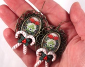 Care Bear Christmas Earrings with Candy Cane Accent