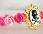 RESERVED for Amy - Gothic Lolita Cuff Bracelet with Skull and Crossbones Cameo and Pink Roses