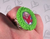 ON SALE - Jem and the Holograms Cameo Ring on Gold Base