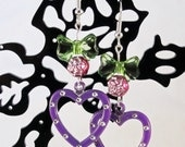 ON SALE - Purple Heart Distressed Metal Heart Earrings with Hot Pink Rose Beads and Green Bows