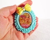 Barbie Cameo Brooch with Yellow Polka Dot Bow