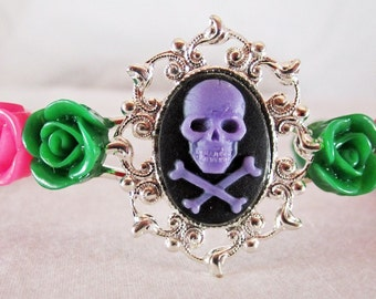 Purple Skull Bracelet Silver Plated Cuff with Hot Pink and Green Lucite Roses